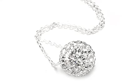 Authentic Diamond Color Sawirovski Crystals,Includes Sterling Silver Chain 18 Inches Rolo. Now At Our Lowest Price Ever but Only for a Limited Time!