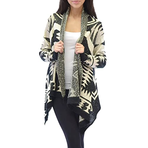 Azkara Womens Aztec Tribal Long Sleeve Open Front Knit Waterfall Cardigan