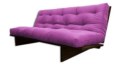 Canapé lit Yokahoma, Wengé, futon Violet, 200x120x24 cm