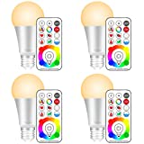 Yangcsl E26 Dimmable Color Changing LED Light Bulbs with Remote Control, Memory & sync, Warm White & RGB Multi Color, 60 Watt Equivalent (4 Pack) (Color: Multi-color + Warm White, Tamaño: Pack of 4)