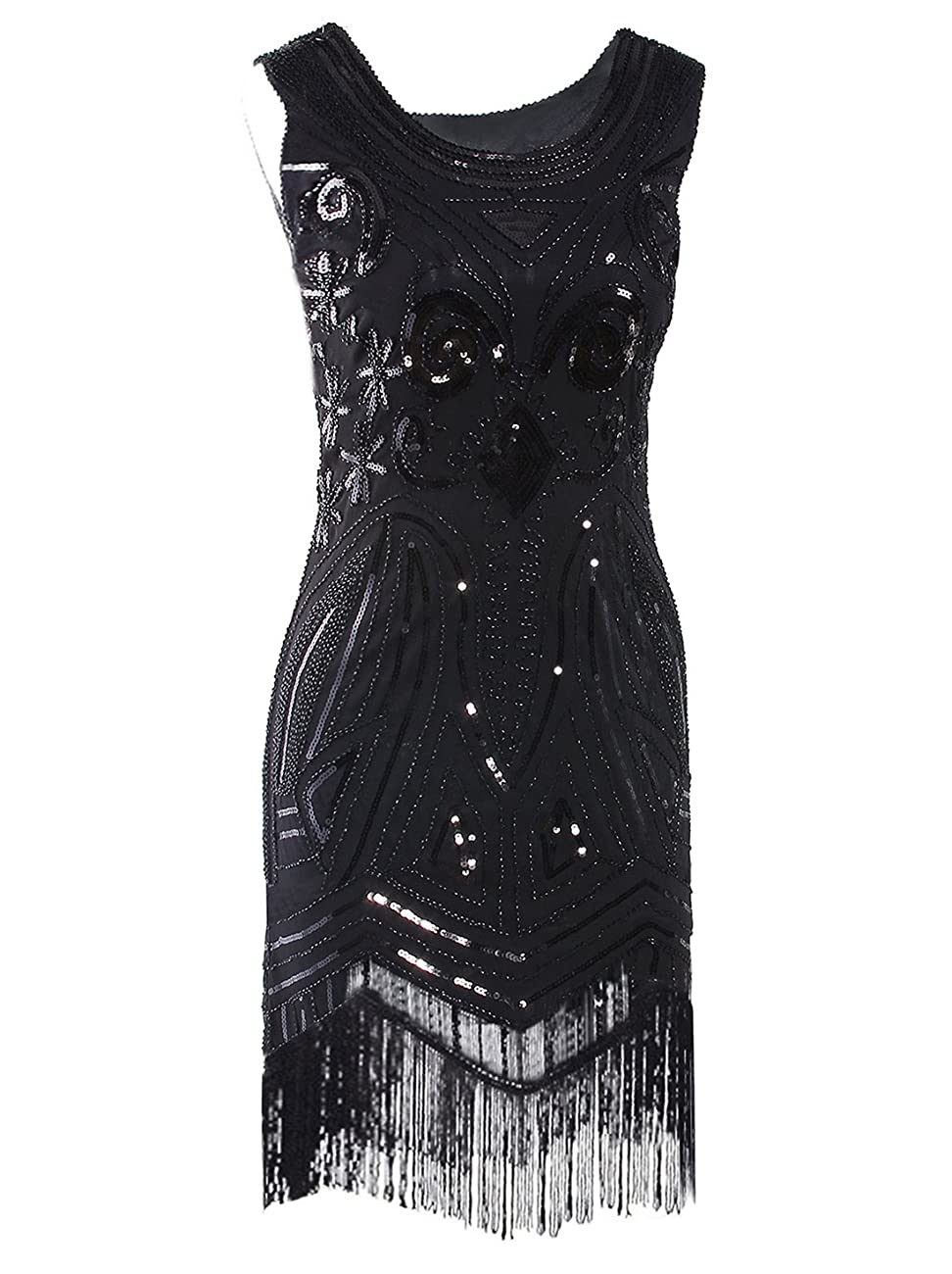 Vijiv Women's 1920's Vintage Gatsby Bead Sequin Art Nouveau Deco Flapper Dress 0