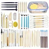 Augernis 57PCS Ceramic Clay Tools Set with Plastic Case Modeling Pottery Sculpting Tools Kits for Beginners Professionals Kids After School Ceramics Classes (Tamaño: 57pcs with case)