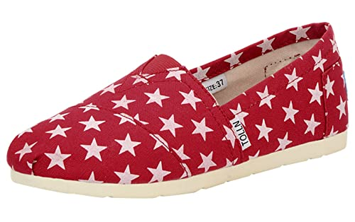 TOLLN cute Star pattern shoes - womens slip-on flats in red