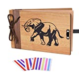 ZEEYUAN Wooden Photo Album Scrapbook DIY Photo Book Wedding Guest-Book 80 Pages Travel Memory Book Birthday Anniversary Valentine's Gift for Mother Father (Elephant) (Color: Elephant)