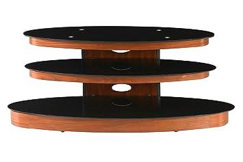 Premier Housewares 2402344 Unità 3 Livelli con Impiallacciatura Noce/Nero e Ripiani in Vetro Temperato per TV, 54x127x52 cm