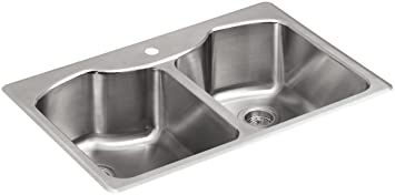 KOHLER K-3842-1-NA Octave Top-Mount Double-Equal Bowl Kitchen Sink with Single Faucet Hole, Stainless Steel