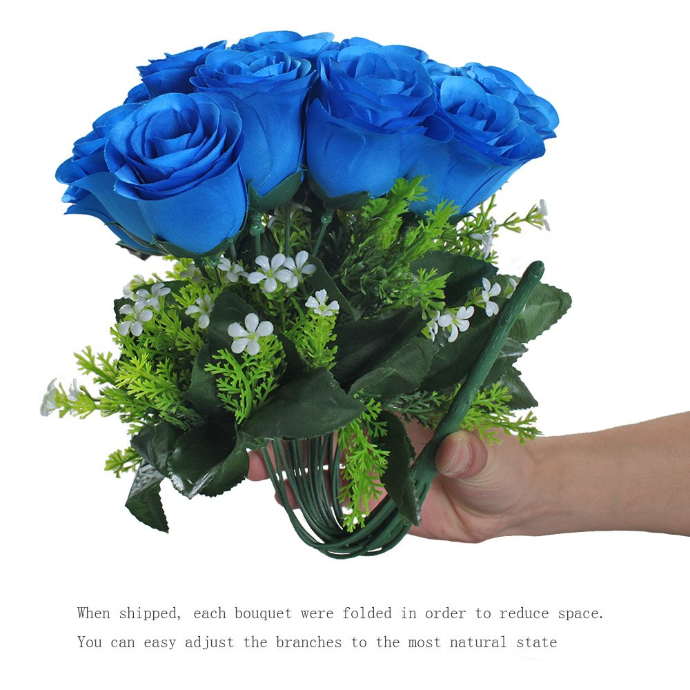 Gtidea Artificial Flower Bouquet 18 Heads Silk Roses Bridal Home Garden Office Dining Table Wedding Decor Blue