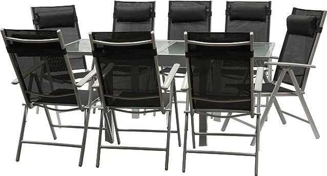 IB-Style - Mobili da gardino STAR | 3 variazioni | 1x tavolo 135 x 270 cm + 8x sedia pieghevole in argento / nero | grouppo - set - lounge - resistente alle intemperie