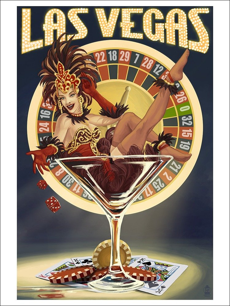 Amazon.com: Las Vegas, Nevada - Casino Pinup Girl (9x12 Art Print ...