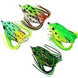 Threemart Fishing Lures For Freshwater,Topwater Frog Crankbait Tackle Bass Soft Swimbait Lures Crankbaits Hard Bait (4pcs/lot) (Color: 4pcs/lot)