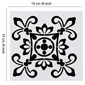 9 Pack Mandala Floor Painting Stencils Set(6x6 inch) Reusable Stencils Laser Cut Painting Template for Wall Tile Wood Furniture Fabric (Color: White, Tamaño: 6x6 inch)