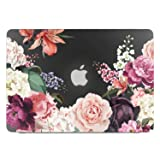 Lapac MacBook Pro 13 Case Floral, Rose Flower Black Clear Hard Shell Case for MacBook Pro (Retina, 13 inch, Early 2015/2014/2013/Late 2012), Model A1502/A1425, NO CD ROM, NO Touch Bar (Color: Rose Flower2, Tamaño: 13 Inches)