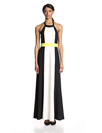 Vince Camuto Women's Colorblock Maxi with Faux Leather Neckline, White/Multi, 8