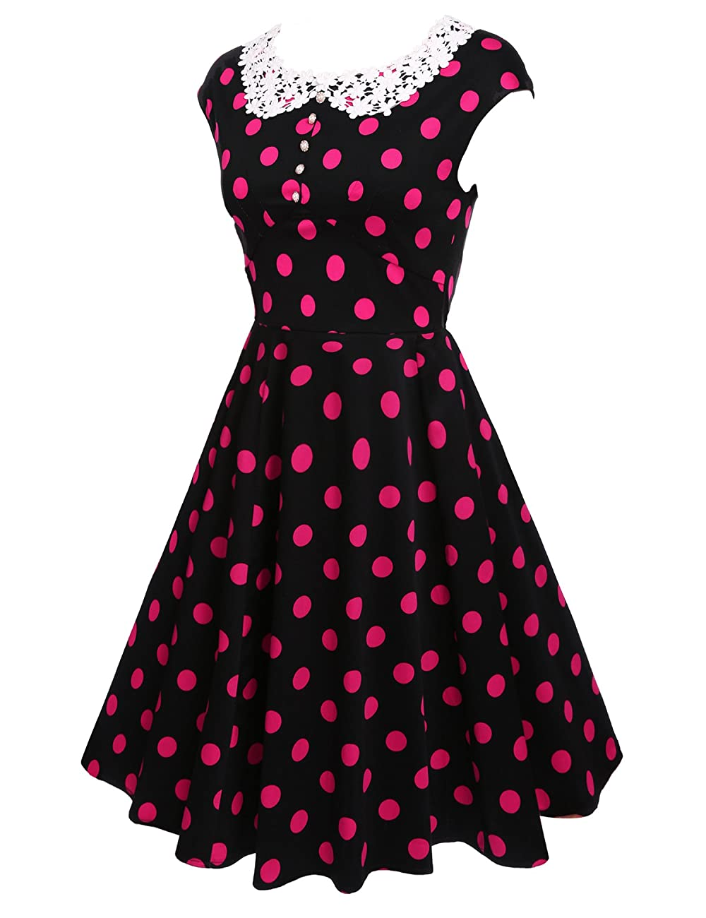 ACEVOG Women's Classy Vintage Audrey Hepburn Style 1940's Rockabilly Evening Dress 2