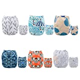 ALVABABY Pocket Cloth Diapers Reusable Washable Adjustable One Size for Baby Boys and Girls 6 Pack with 12 Inserts 6DM26 (Color: Boy color 26, Tamaño: All in one)