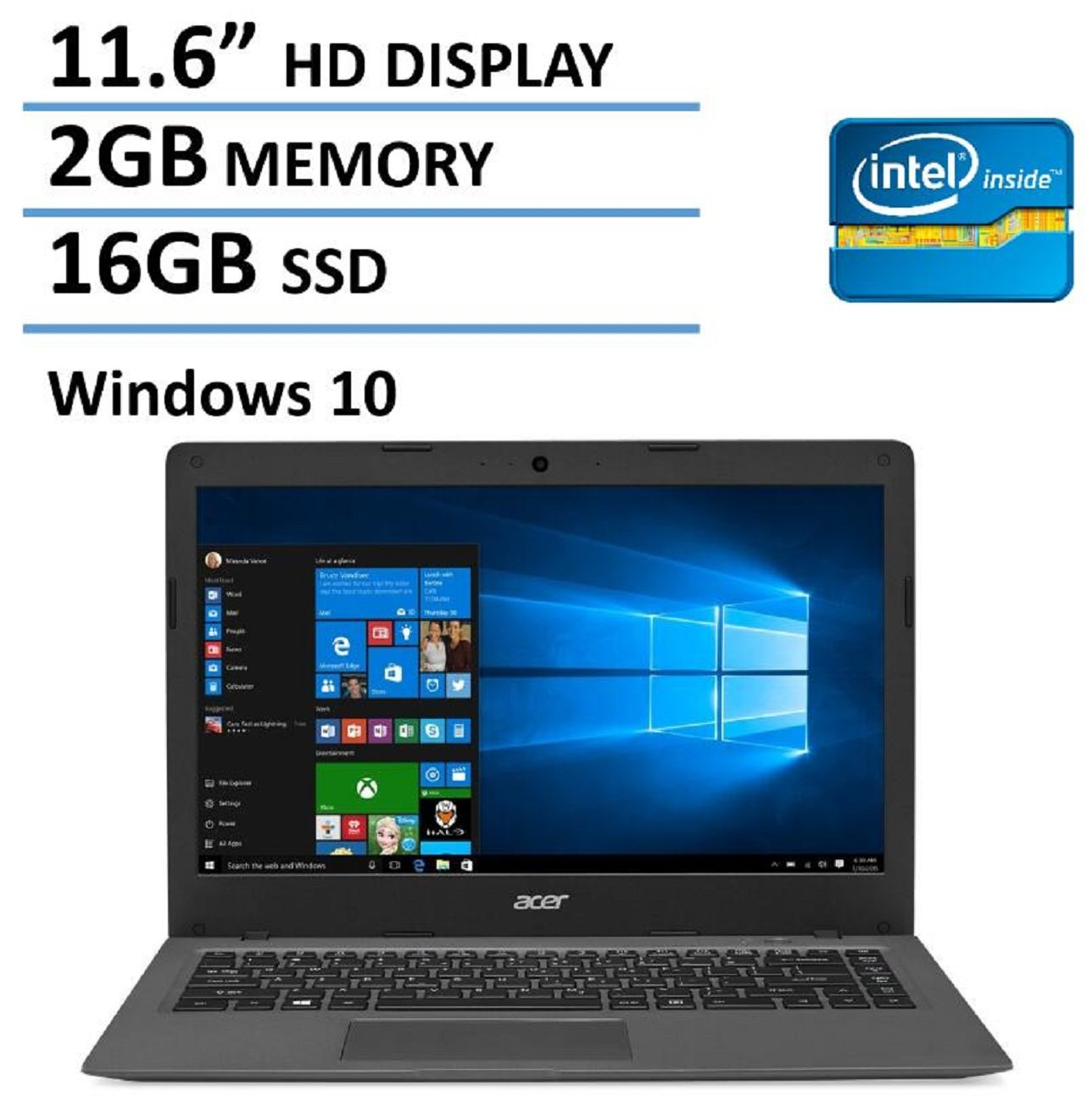 2016 NEW Edition Acer Aspire One 11 Cloudbook 11.6-inch Laptop, Intel Dual-Core Processor, 2GB RAM, 16GB SSD, 100GB OneDrive Cloud Storage 2 years, Bluetooth, HDMI, Windows 10
