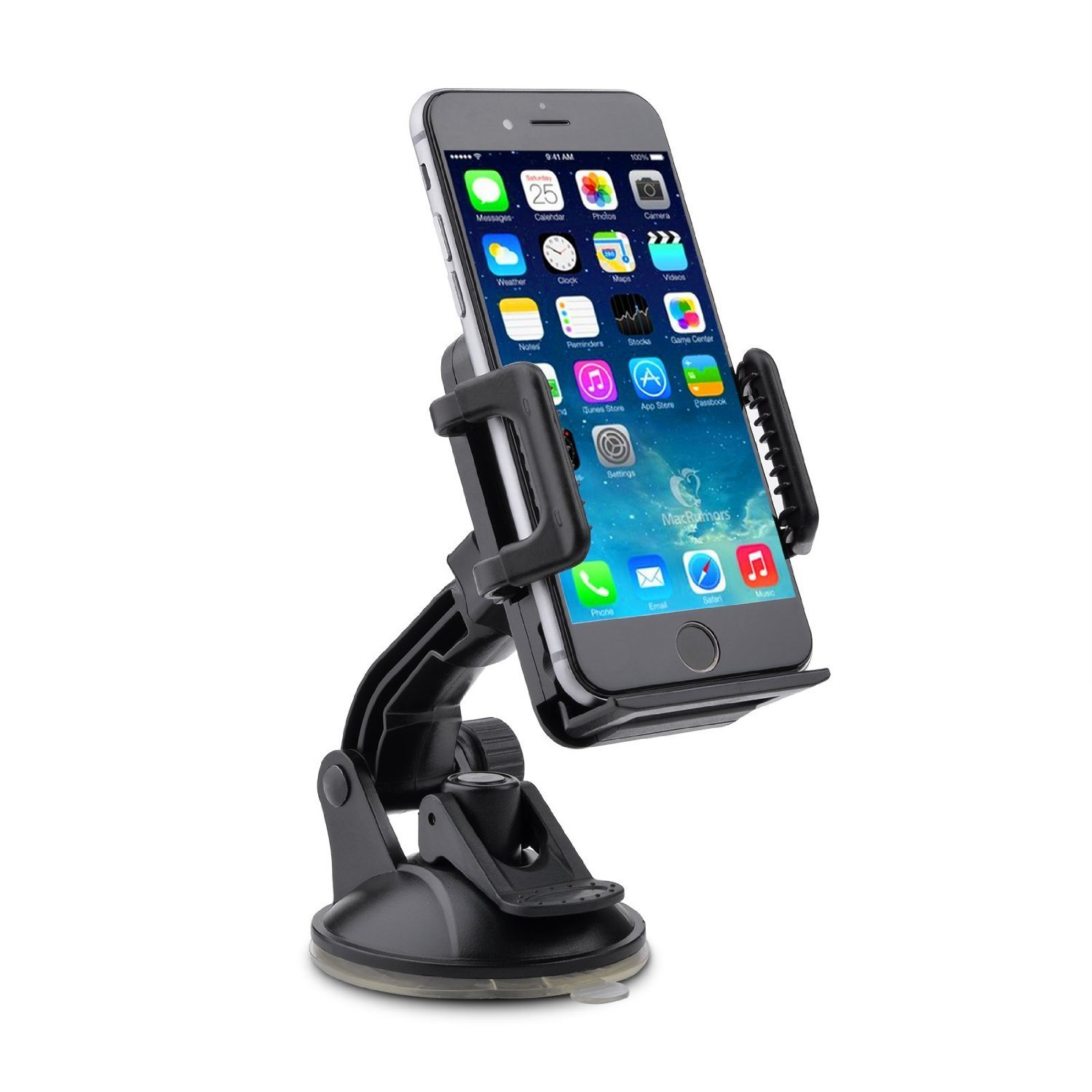 Amuoc Car Windshield/Dashboard Universal Smart Phone Mount Holder, Car Cradle for iPhone/Android