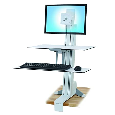 "Ergotron WorkFit-S PC Multimedia stand White - multimedia carts & stands (61 cm (24""), Aluminium, Plastic, Steel, White, 20 kg, 580 x 115 x 200 mm)"