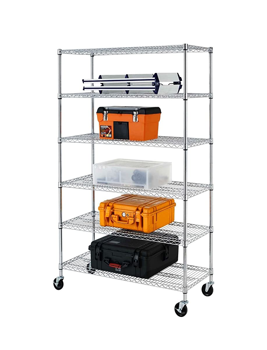 """72""""(H) x 48""""(L) x 18""""(D) Chrome Commercial 6 Layer Shelf Adjustable Steel Wire Metal Shelving Rack"""