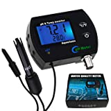 2-in-1 PH Temperature Continuous Monitor Meter Tester ATC Backlight Replaceable Electrode Buffer Calibration Set Dual Display 0.00~14.00pH °C/ °F Water Quality Kit for Aquariums Hydroponics Pools Spa