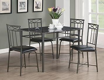 Coaster Home Furnishings 150115 5-Piece Casual Dining Room Set, Black/Black