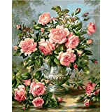 ABEUTY DIY Paint by Numbers for Adults Beginner - Pink Rose Flower 16x20 inches Number Painting Anti Stress Toys (Color: Pink Rose, Tamaño: No Frame)