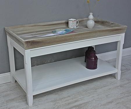 Couchtisch Tisch Beistelltisch weiß braun Landhaus Holztisch Holz robust Tablett