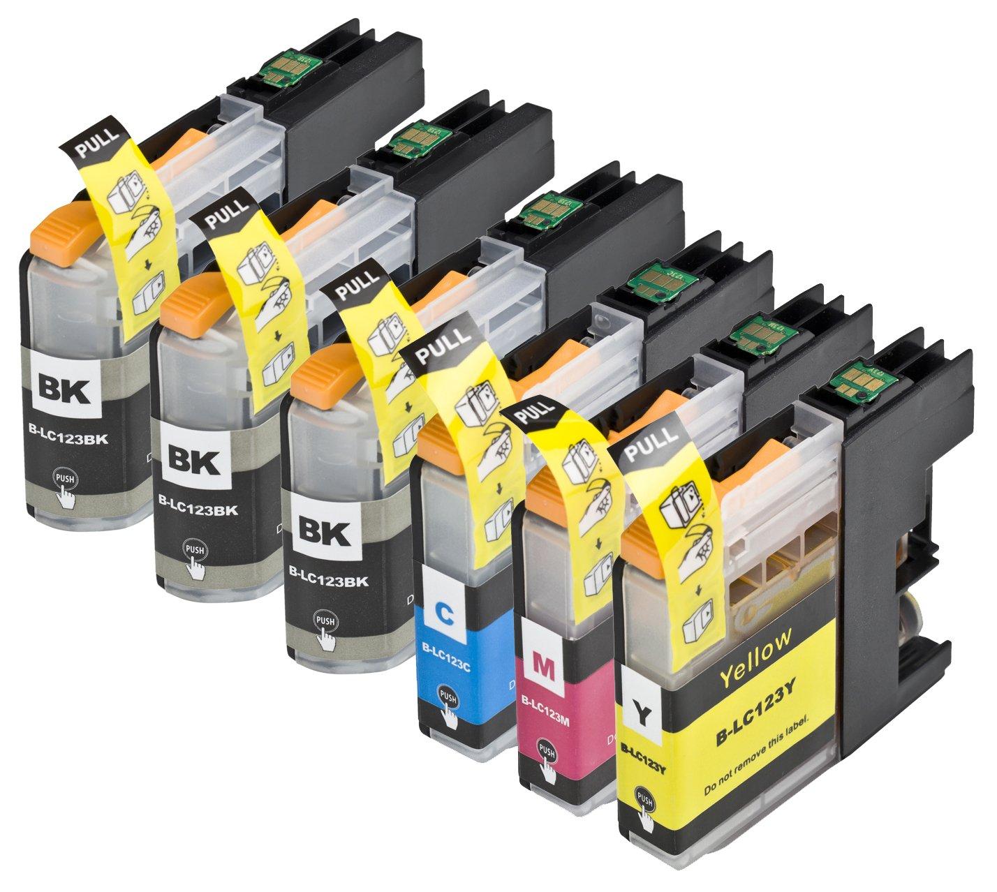 6 Multipack de alta capacidad Brother LC123 Cartuchos Compatibles 3 negro, 1 ciano, 1 magenta, 1 amarillo para Brother DCP-J132W, DCP-J152W, DCP-J172W, DCP-J552DW, DCP-J752DW, DCP-J4110DW, MFC-J245, MFC-J470DW, MFC-J650DW, MFC-J870DW, MFC-J2310, MFC-J2510, MFC-J4410DW, MFC-J4510DW, MFC-J4610DW, MFC-J4710DW, MFC-J6520DW, MFC-J6720DW, MFC-J6920DW. Cartucho de tinta . LC123BK , LC123C , LC123M , LC123Y © 123 Cartucho  Electrónica Más información y revisión del cliente