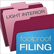 Pendaflex Two-Tone Color File Folders, Letter Size, 1/3 Cut, Burgundy, 100 per Box (152 1/3 BUR)