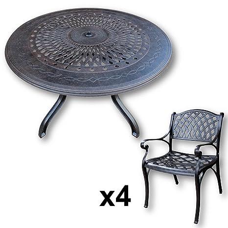 Lazy Susan Furniture - Amy 120 cm Round 4 Seater Cast Aluminium Garden Set - Antique Bronze (Kate chairs)