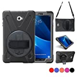 Galaxy Tab A 10.1 Case, TSQ SM-T580 T585?NO S Pen Version? Three Layer Heavy Duty Rugged Protective Shockproof Case for Kids with Hand Strap,Shoulder Strap&360 Degree Stand for Samsung Tab A 10.1 Blk (Color: BLACK, Tamaño: T580 (No Pen Version))