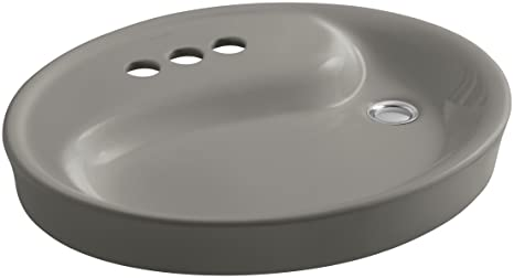 "KOHLER K-2354-4-K4 Yin Yang Wading Pool Bathroom Sink with 4"" Centers and Overflow, Cashmere"