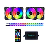 Apevia FR412L2S-RGB Frostblade 120mm Silent Addressable RGB Color Changing LED Fan with Remote Control, 16x LEDs & 8X Anti-Vibration Rubber Pads w/ 2 Magnetic Addressable LED Strips (4+2-pk) (Color: Frostblade RGB + Strip (4+2 pk), Tamaño: 1)