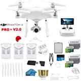 DJI Phantom 4 PRO Plus V2.0 Drone with 1-inch 20MP 4K Camera KIT with Built in Monitor, 3 Total DJI Batteries, 2 64gb Micro SD Cards, Reader, Guards, Range Extender with Charging Hub (Color: 3 BATTERY BUNDLE, Tamaño: PHANTOM 4 PRO+)