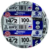 Southwire 28827423 100' 14/2 with ground Romex brand SIMpull residential indoor electrical wire type NM-B, White (Color: White, Tamaño: 100 ft)