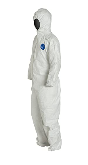 DuPont Tyvek 400 TY127S TAA Compliant Disposable Protective Coverall with Respirator-Fit Hood and Elastic Cuff, White, 4X-Large (Pack of 25) (Color: White, Tamaño: 4X-Large)