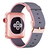 INTENY Yichan Woven Nylon Fabric Wrist Strap Replacement Band with Classic Square Stainless Steel Buckle for Apple Watch iWatch Series 1 / 2 / 3,Sport & Edition,38mm,Lightpink and Midnightblue (Color: sq-lightpink/midnightble, Tamaño: 38 mm)