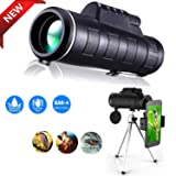 Monocular Telescope 40X60 high Powered,with Phone Smart Stand and Telescopic Tripod,Sports Waterproof HD Bird Watching Monocular,FMC BAK4 Prism and Environmentally Friendly Rubber Material (Color: .Black)