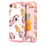 Dailylux iPod Touch 5 Case,iPod Touch 6 Case,iPod Touch 7 Case,3in1 Hybrid Impact Resistant Shockproof Case Soft Silicone Protective Cover for Apple iPod Touch 5/6/7th Generation Color Pineapple Rose (Color: Color Pineapple Rose Gold)