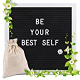 Changeable Letter Board 10x10 inches, Message Sign Board with Canvas Bag, Adjustable Stand,Wall Mount and 340 Letters, Numbers & Symbols (White) (Color: White)