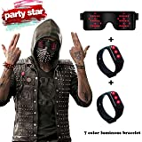 RICISUNG Trustworthy 2019 LED Sunglass,Flashing Cool Party Light up Glasses can work in 8 Animation Modes for 10 Hours,For Nightclubs, DJ, Halloween, Birthday Parties, New Year's party Supplies (Red) (Color: Red)