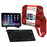 Navitech Converter Pack Including Multi OS Wireless Bluetooth Keyboard/Red Case Bag & Portable Stand Compatible with The Huawei MediaPad T3 10