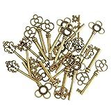 Mixed Set of 30 Vintage Old Look Skeleton Keys Fancy Heart Bow Necklace Pendants (Bronze) (Color: Bronze, Tamaño: 30PCS)