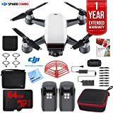 DJI SPARK Fly More Drone Combo (Alpine White) With Custom Hard Case, 64GB High Speed Card, Corel PaintShop Pro X9, High Visibility Pro Guards, Cleaning Cloth, and One Year Warranty Extension (Color: Alpine White)