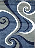 0327 Blue White Pea Green 5'2x7'2 Area Rug Abstract Carpet
