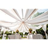 Ceiling Draping White Sheer Ceiling Curtain Voile Chiffon Ceiling Drape 10 Ft W X 40 Ft H Panel Wedding (Color: White, Tamaño: 10 Feet Width X 40 Feet Height)