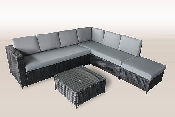 XXL mobili da giardino in polyrattan 235x 221cm in Nero incl. Vetro e imbottitura in grigio Mobili da giardino LOUNGE, gruppo