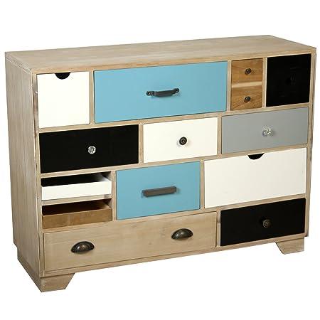 PAME 40719 - Cómoda con cajones colores, madera de roble