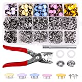 200 Sets Snap Fasteners Kit Tool, Metal Snap Buttons Rings with Fastener Pliers Press Tool Kit for Clothing 5 Colors(10 mm,solid, multicolor) (Color: multicolor, Tamaño: 10 mm)