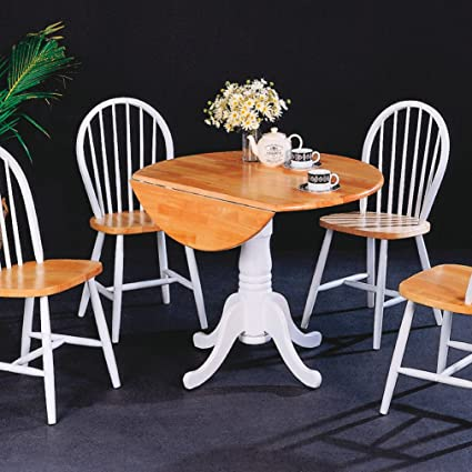 Traditional Cottage / Country Style Dining Set in Natural and White Finish (1 Round Table, 4 Chairs)
